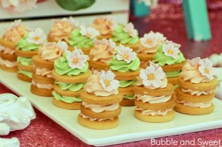 Stacked cookies wedding cookie butter cream cookie tower pink green mint shabby chic sugar flower